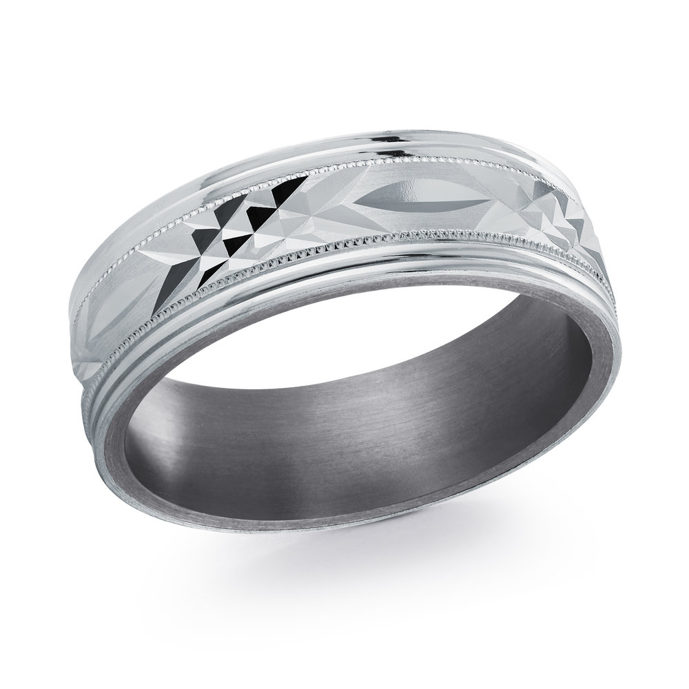 White Gold Men's Ring Size 7mm (TANT-018-7W)