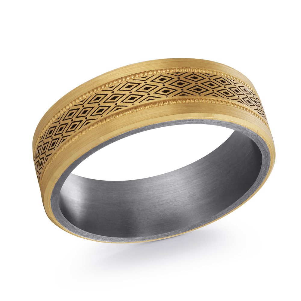 Yellow Gold Men's Ring Size 7mm (TANT-019-7Y)