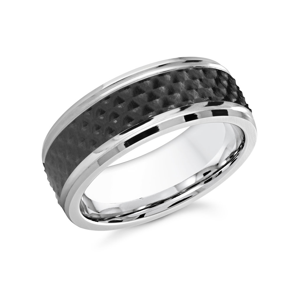 White/Black Gold Men's Ring Size 8mm (CB-019)