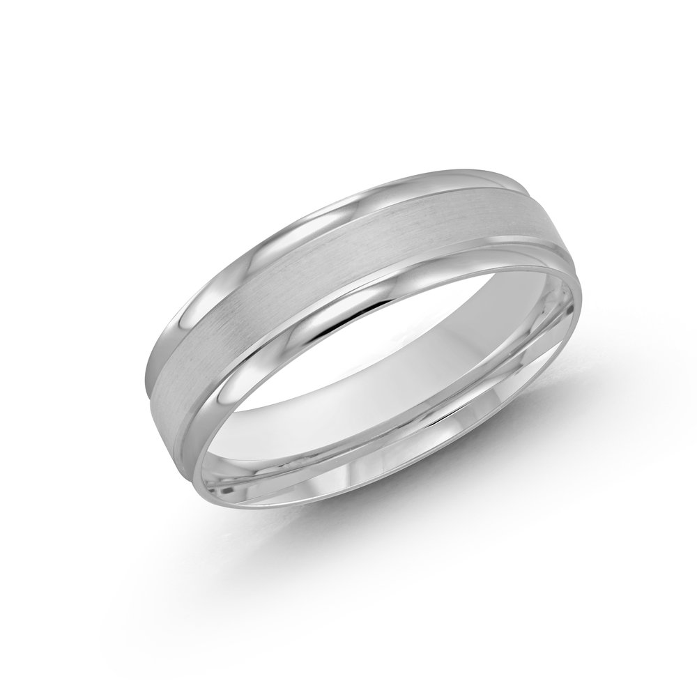 White Gold Men's Ring Size 6mm (LUX-031-6W)