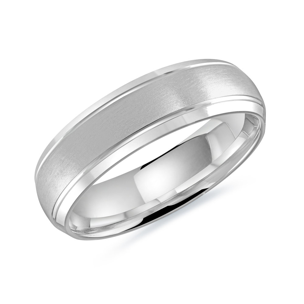 White Gold Men's Ring Size 6mm (LUX-014-6W)