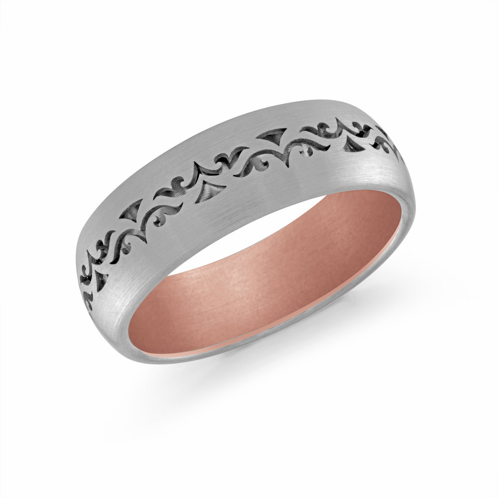 White/Pink Gold Men's Ring Size 7mm (FJM-008-7WZP)