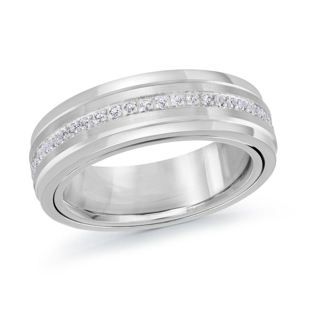 White Gold Men's Ring Size 6mm (MRD-089-6W28)
