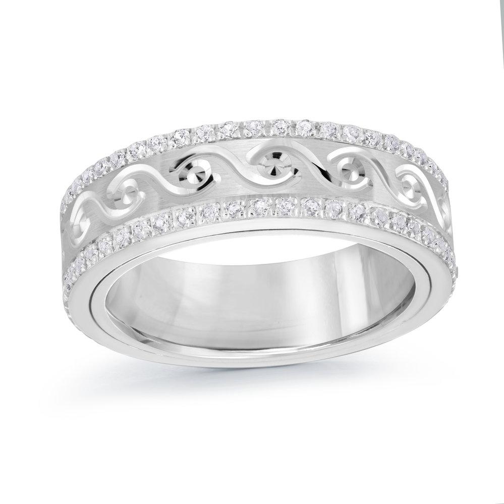 White Gold Men's Ring Size 6mm (MRD-099-6W50)