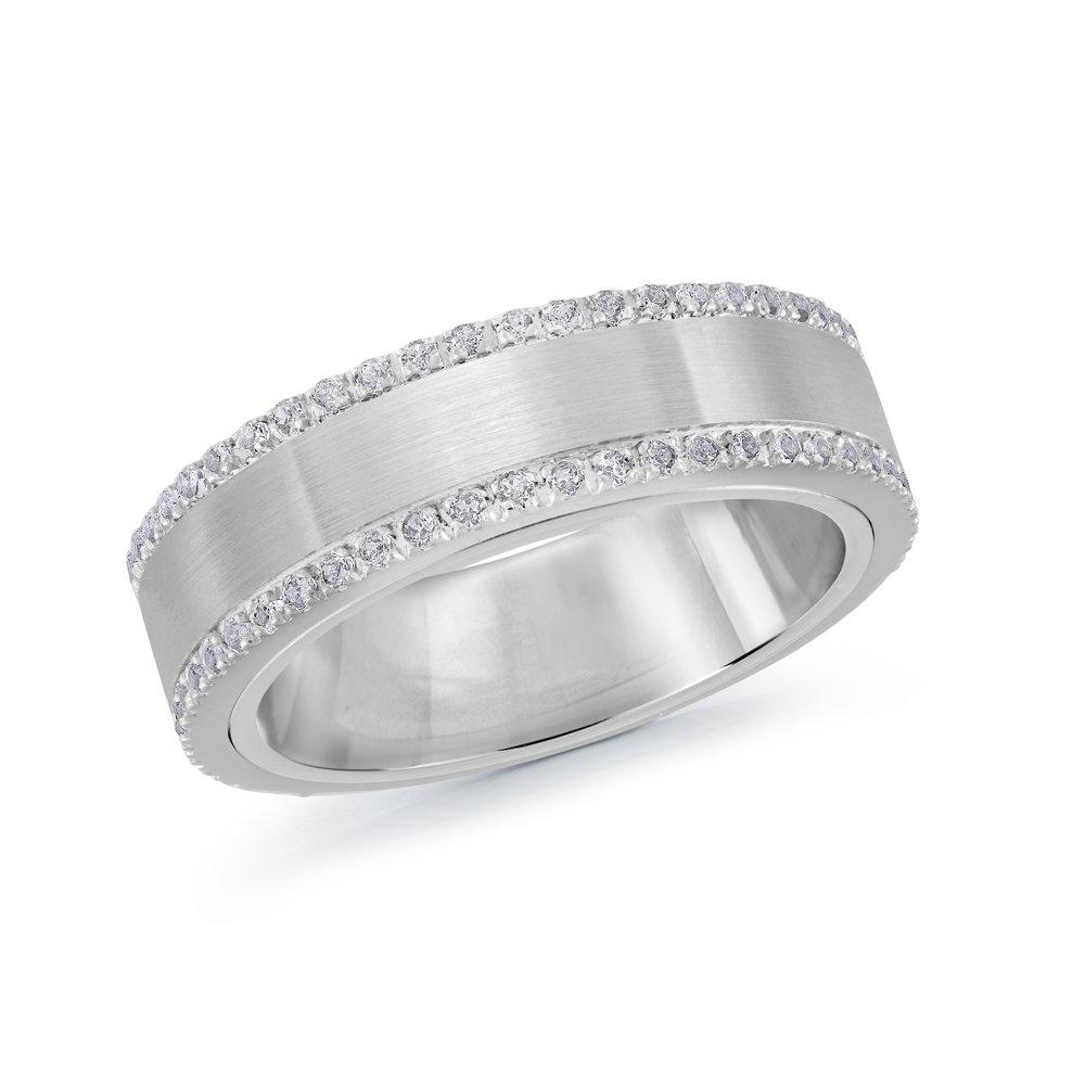 White Gold Men's Ring Size 6mm (MRD-100-6W50)