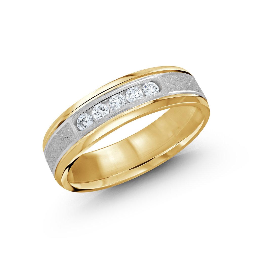 Yellow/White Gold Men's Ring Size 6mm (JMD-470-6YW25)