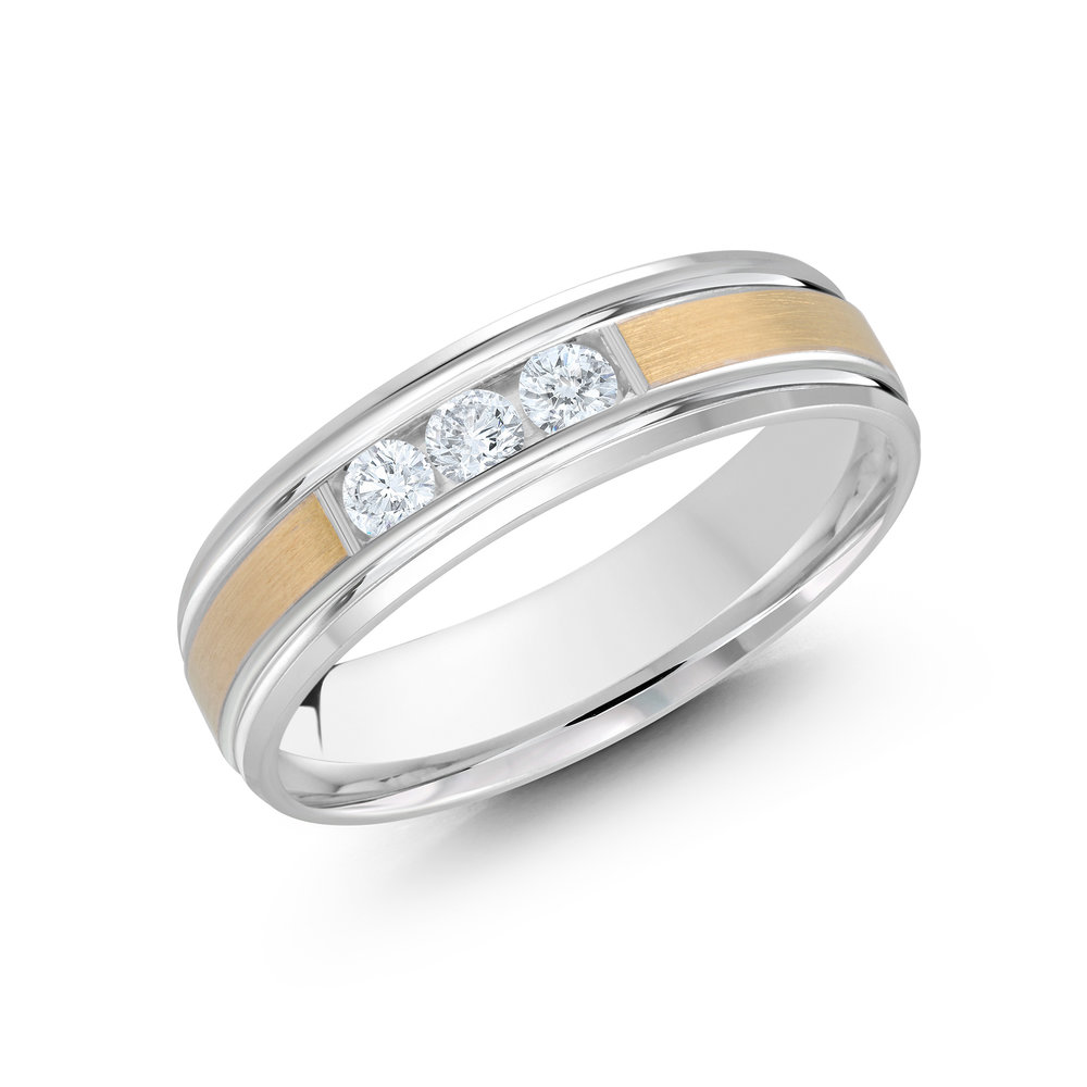 White/Yellow Gold Men's Ring Size 6mm (JMD-520-6WY21)