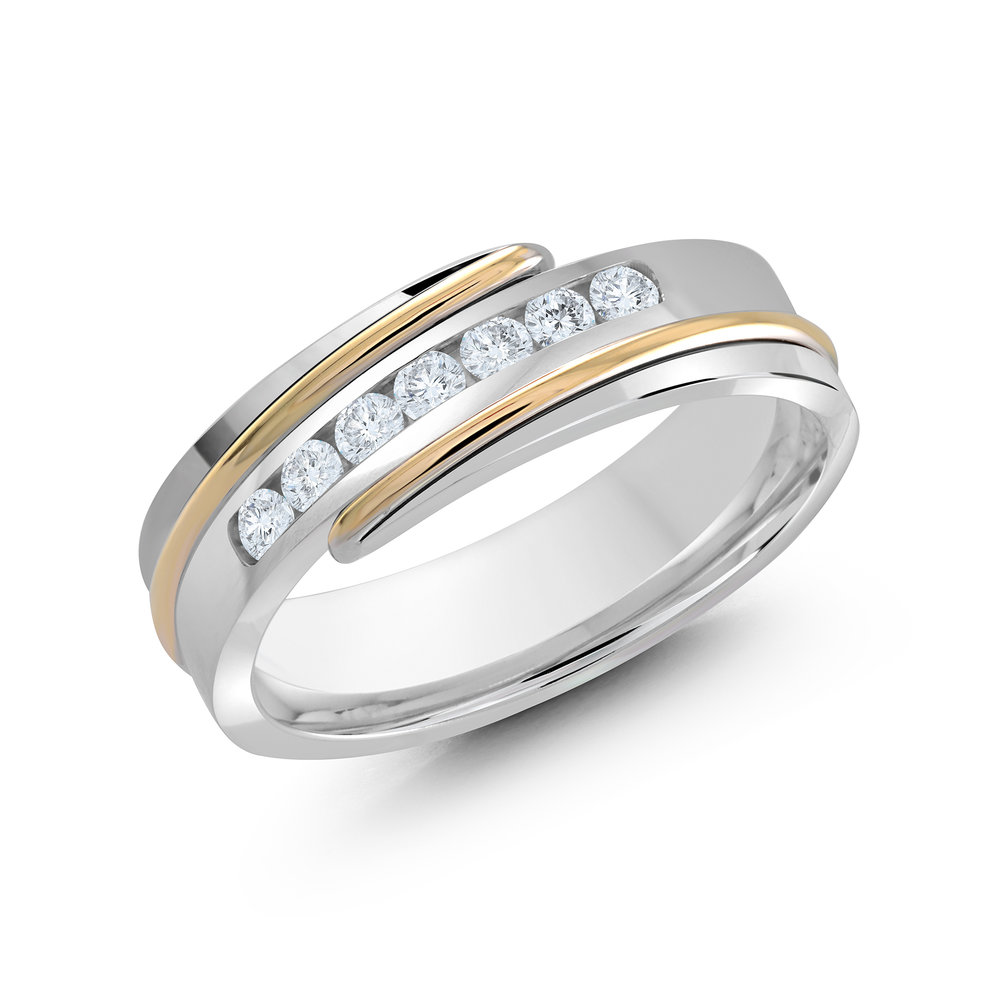 White/Yellow Gold Men's Ring Size 7mm (JMD-634-7WY25)
