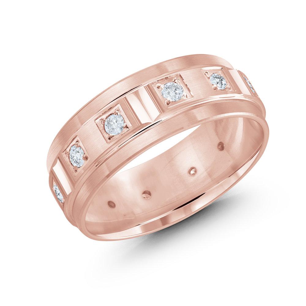 Pink Gold Men's Ring Size 8mm (JMD-826-8P50)