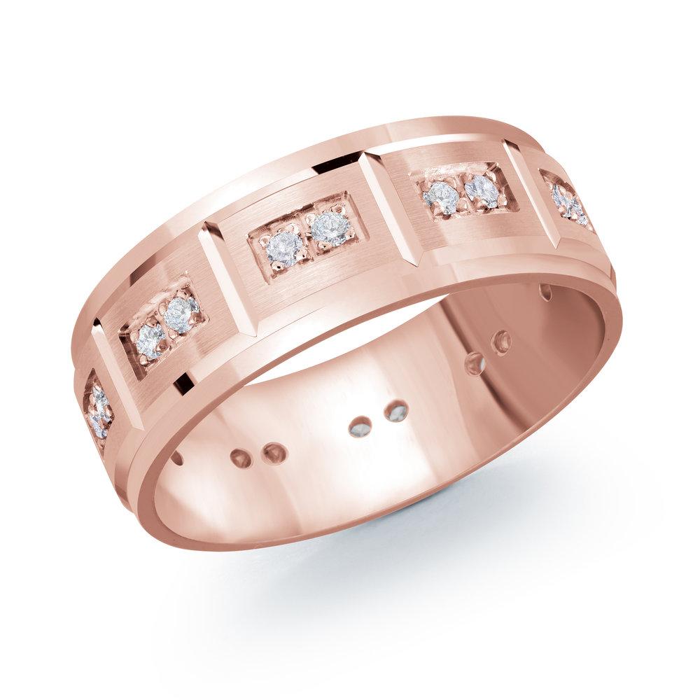 Pink Gold Men's Ring Size 8mm (JMD-1102-8P30)