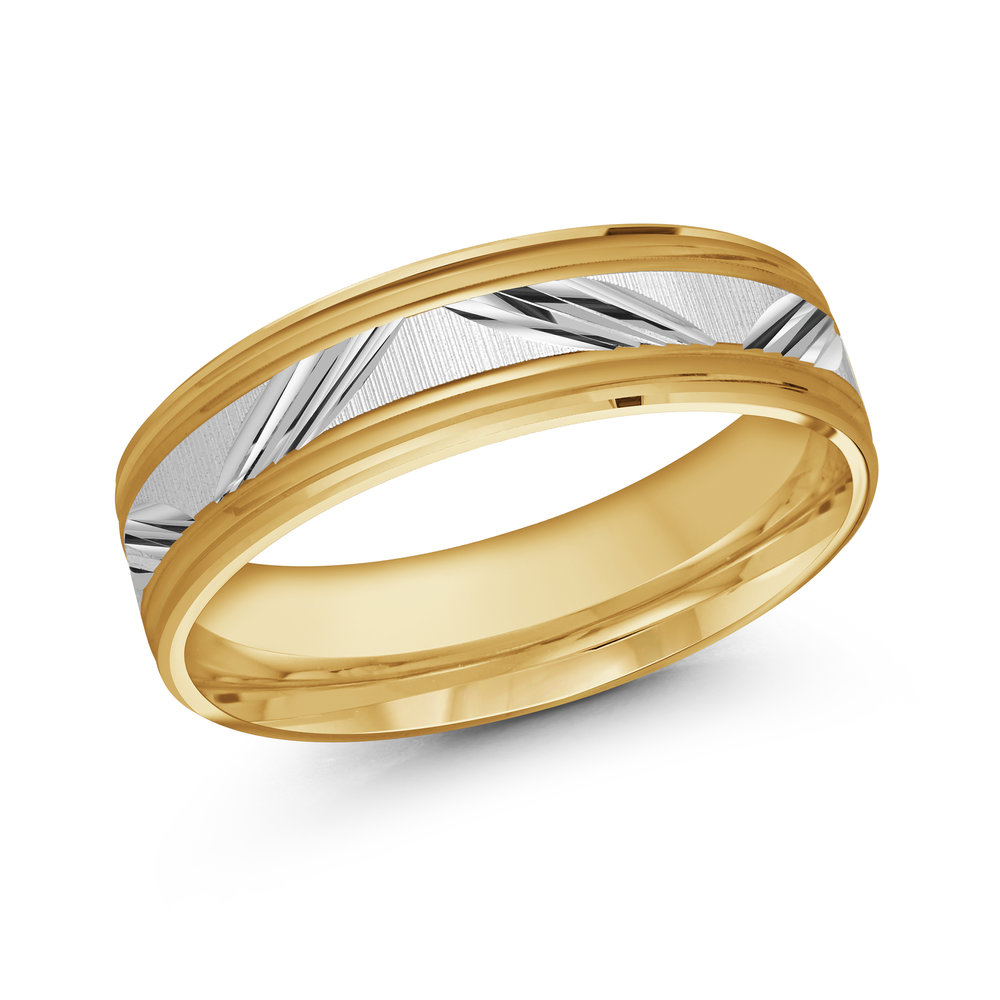 Yellow/White Gold Men's Ring Size 6mm (LUX-038-6YW)