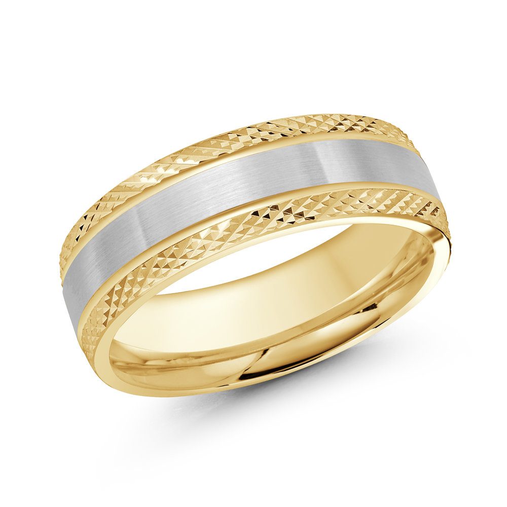 Yellow/White Gold Men's Ring Size 7mm (LUX-078-7YW)
