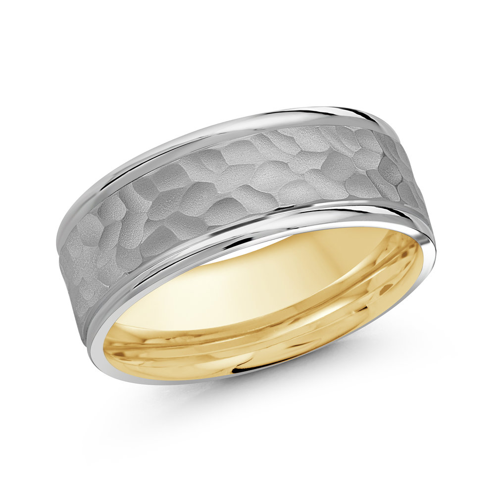 White/Yellow Gold Men's Ring Size 8mm (LUX-169-8WZY)