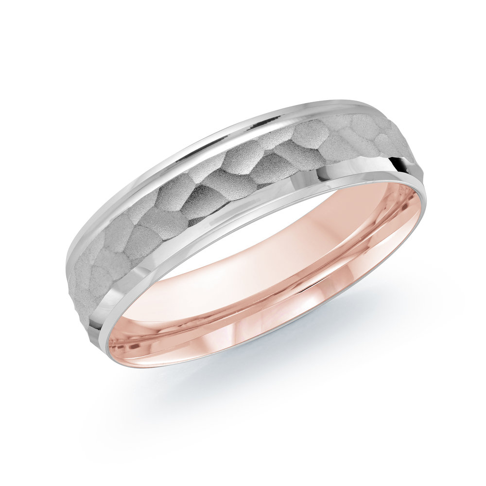 White/Pink Gold Men's Ring Size 6mm (LUX-082-6WZP)