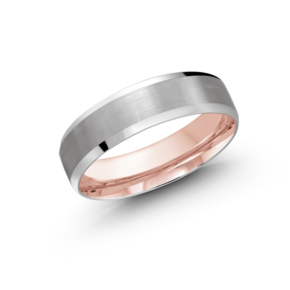 White/Pink Gold Men's Ring Size 6mm (LUX-1105-6WZP)