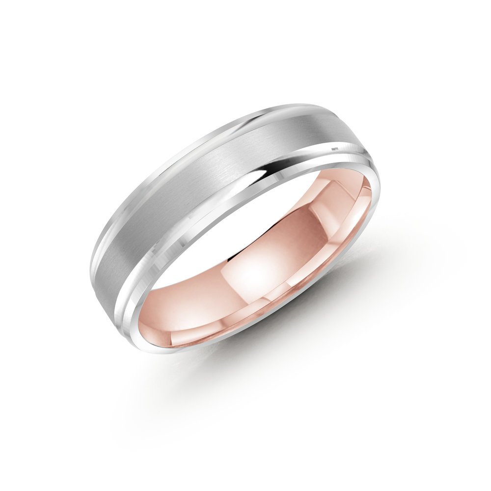 White/Pink Gold Men's Ring Size 6mm (LUX-411-6WZP)