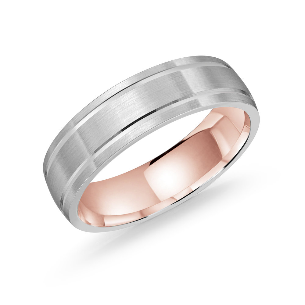 White/Pink Gold Men's Ring Size 6mm (LUX-976-6WZP)