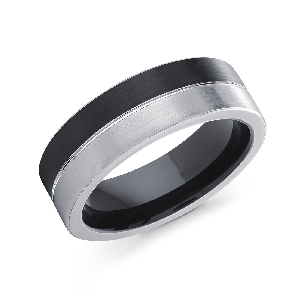 Black/White Gold Men's Ring Size 7mm (CB-507)