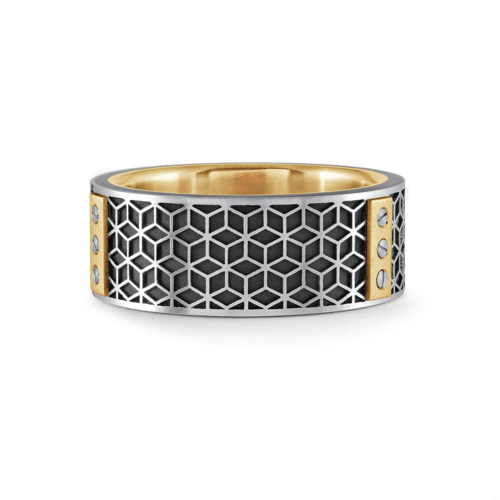 White Gold Men's Ring Size 8mm (MRDA-068)
